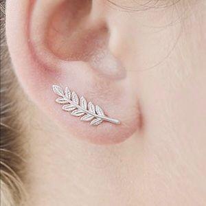 Silver leaf vine ear climber trendy earrings